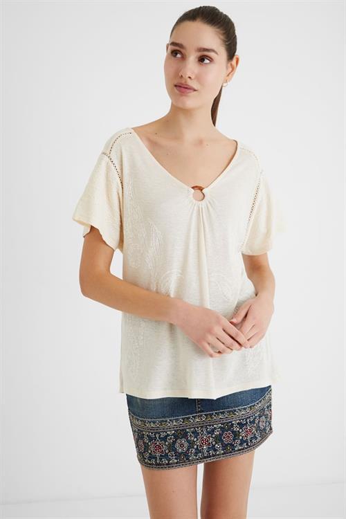 tričko Desigual Alberti blanco