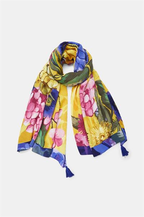 šál Desigual Flores 3D Rectangl amarillo
