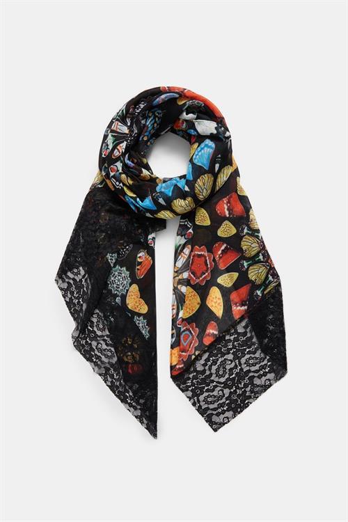 šátek Desigual Butterfly Galactic negro