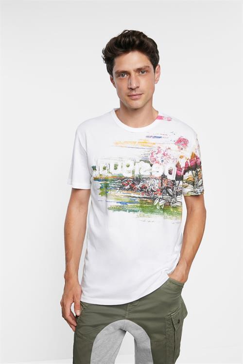 tričko Desigual Cameron blanco roto