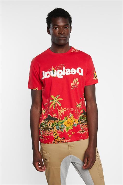 tričko Desigual Carpo rojo clavel