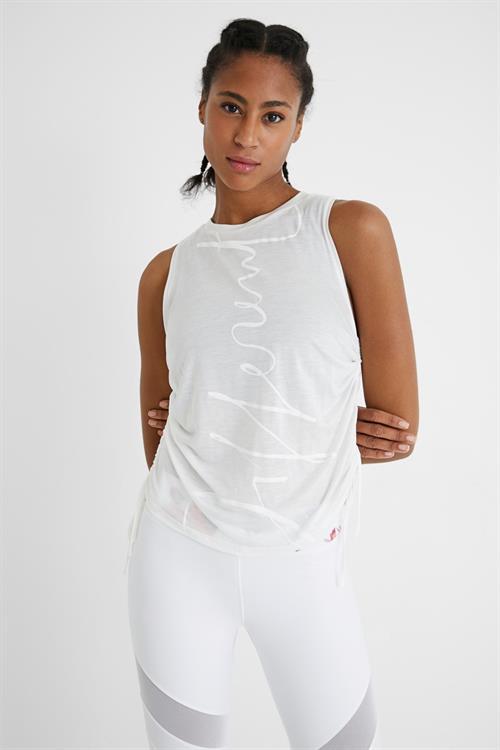 tričko Desigual Drawstring Sides blanco
