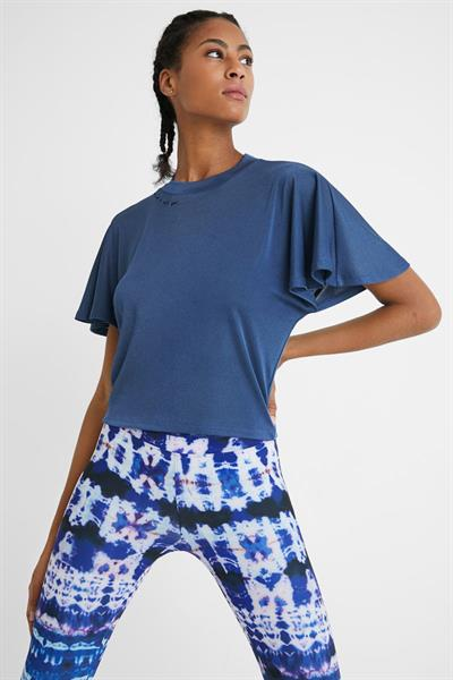 tričko Desigual Volantes Sleeves bijou blue
