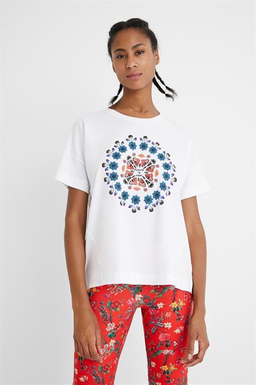 tričko Desigual Oversize Galacti blanco