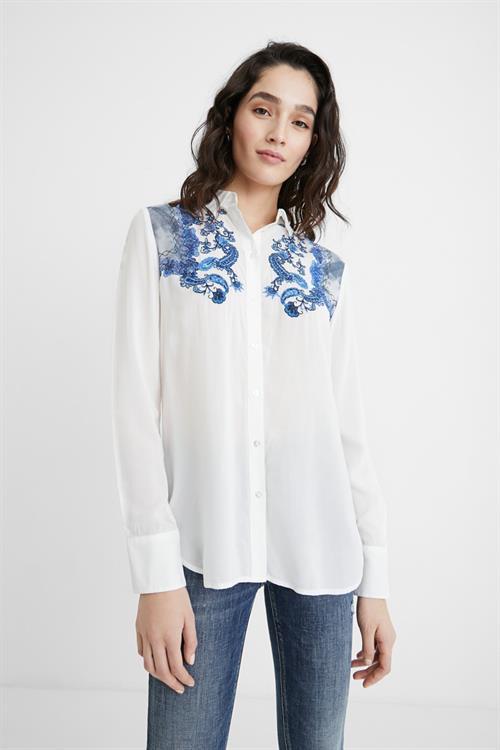 košeľa Desigual Barcino blanco