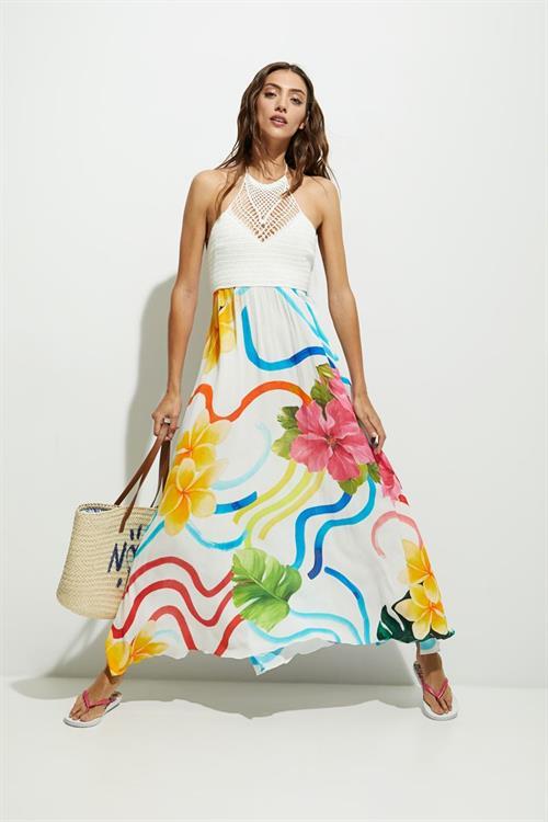 plážové šaty Desigual Saona blanco