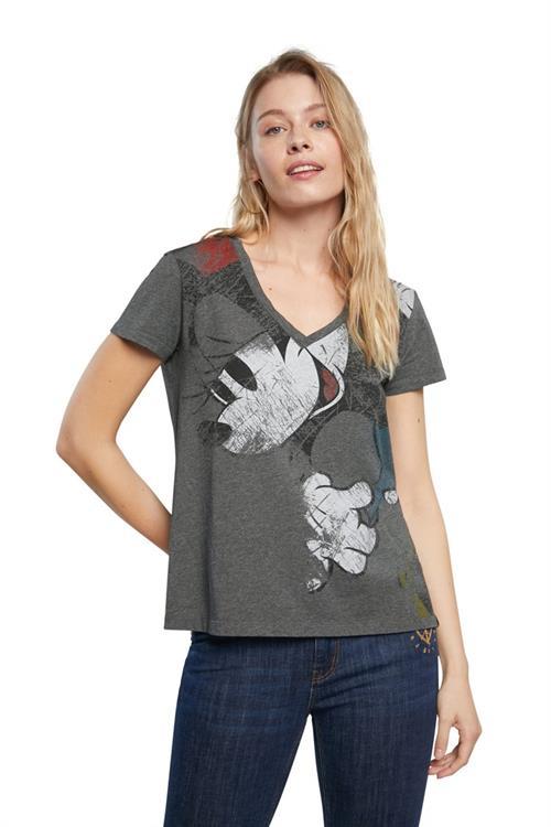tričko Desigual Minnie gris alquitran