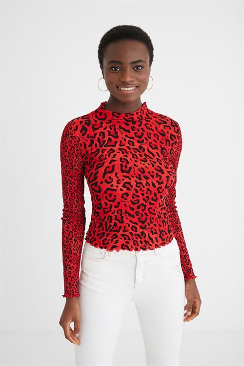 tričko Desigual Leoparda carmin