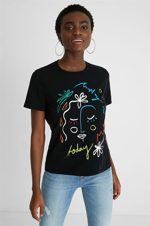 tričko Desigual Face negro