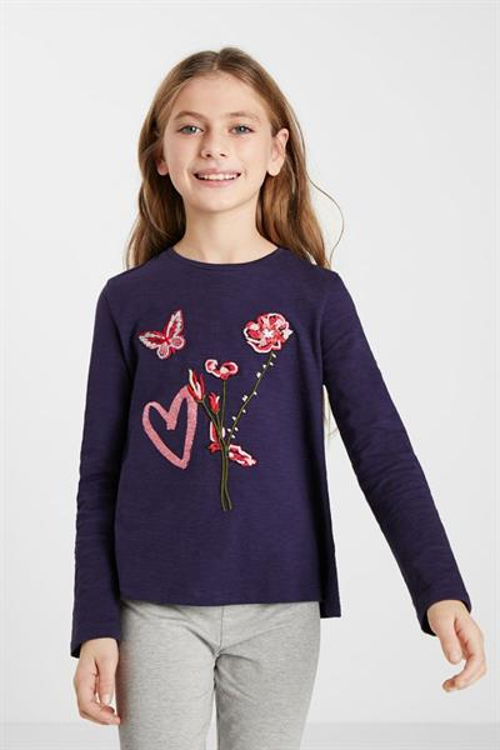 tričko Desigual Heart navy