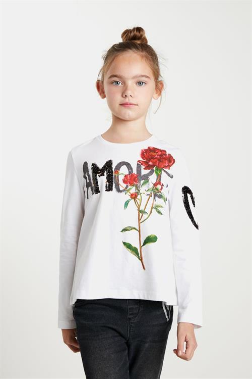 tričko Desigual Flor blanco