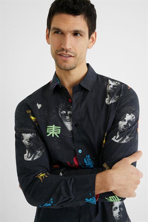košile Desigual Mix Met negro