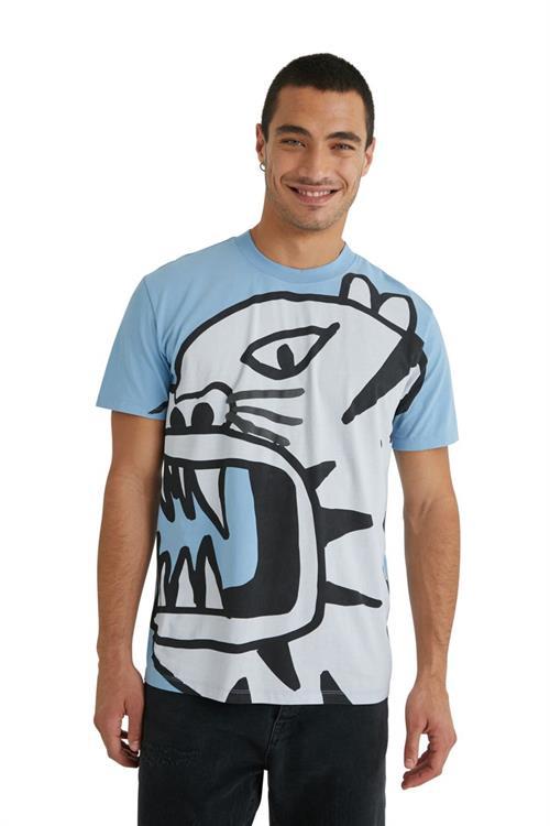 tričko Desigual Tiger azul grisaceo