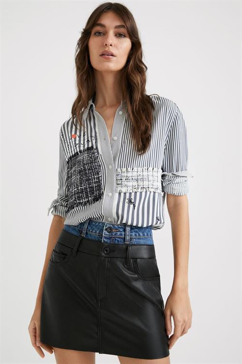 košile Desigual Bruna gris azulado