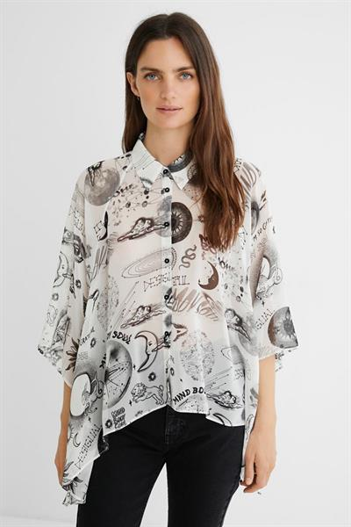 košile Desigual Milan blanco