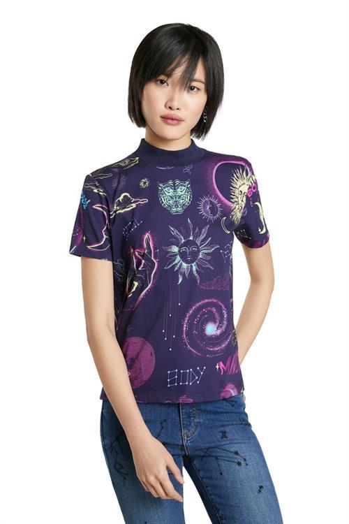 tričko Desigual Cosmos shadow purple