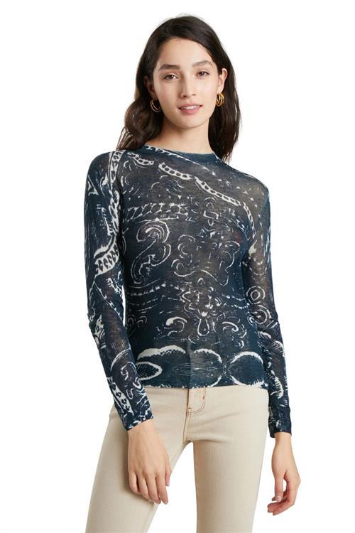 tričko Desigual Eden azul grisaceo