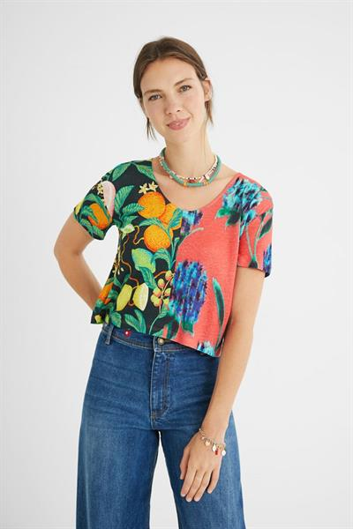 tričko Desigual Caribbean rosa bombon