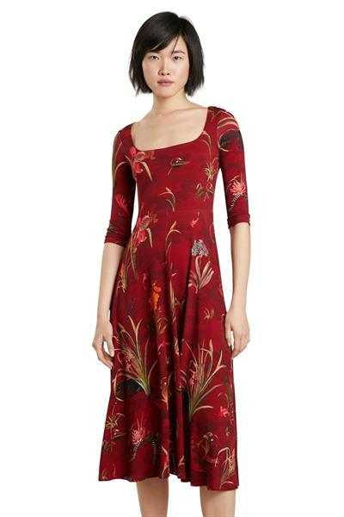 šaty Desigual Flowers granate